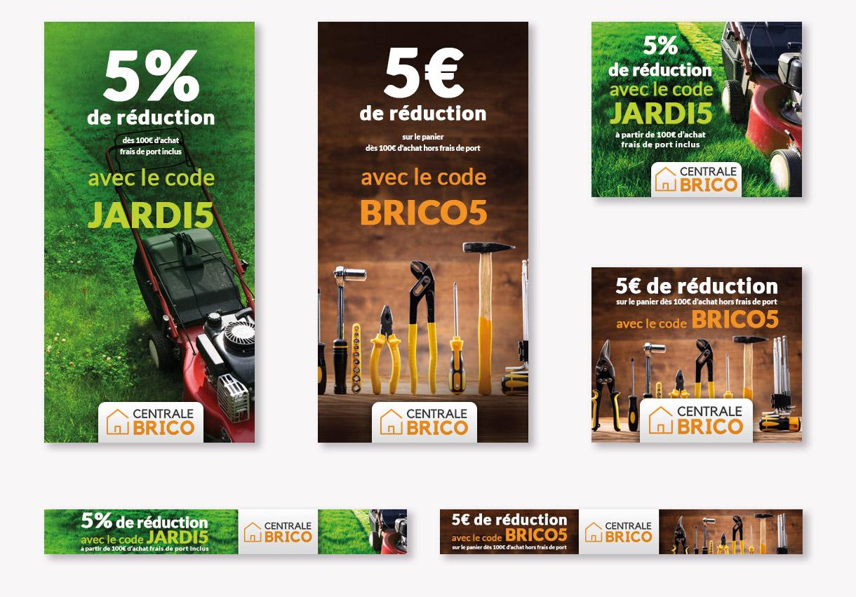 Création de bannières publicitaires pour Centrale-brico, N°1 du Bricolage en ligne