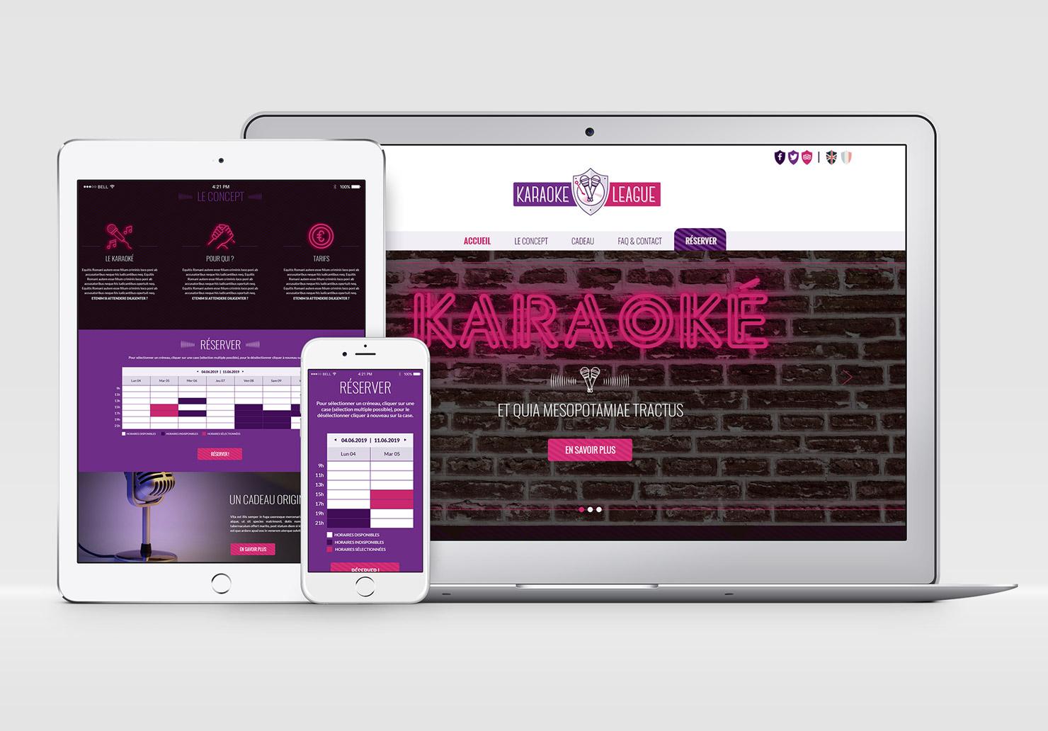 Maquettes graphiques du site Karaoke League - Réalisées par Emilie Le Béhérec Prima - Graphiste freelance web et print