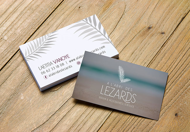 Carte de visite A L'abri des Lézards - Création de cartes de visite par Emilie Le Béhérec Prima - Graphiste Freelance depuis 2009