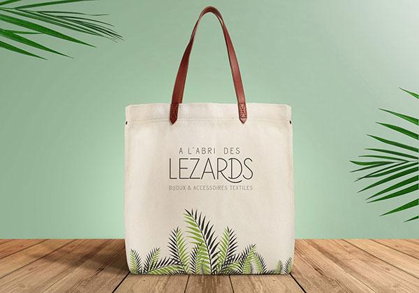 Logo et Tote bag A L'abri des Lézards - Création de logo par Emilie Le Béhérec Prima - Graphiste Freelance depuis 2009