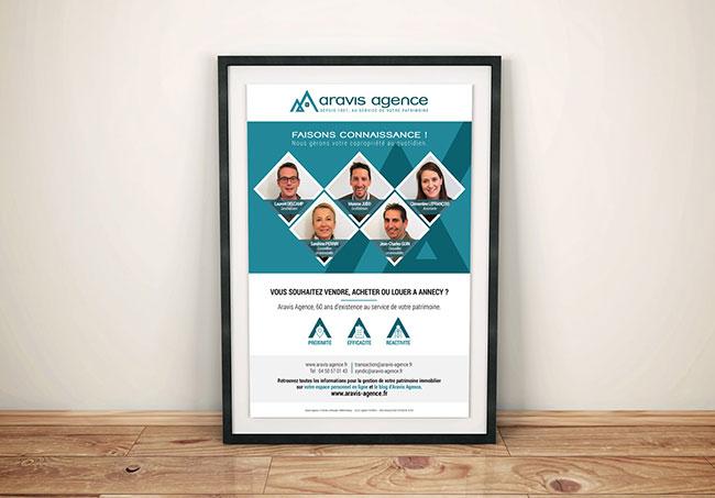 Affiche Aravis agence - Création d'affiche par Emilie Le Béhérec Prima - Graphiste Freelance web et print