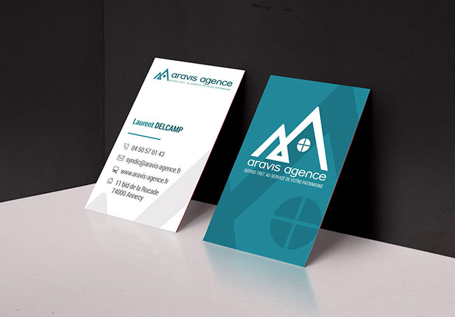 Carte de visite Aravis agence - Création de carte de visite par Emilie Le Béhérec Prima - Graphiste Freelance web et print