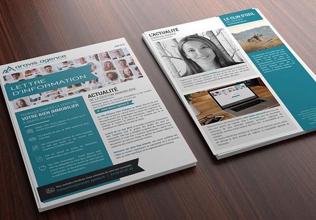 Lettre d'information Aravis agence - Création de lettre d'information par Emilie Le Béhérec Prima - Graphiste Freelance web et print