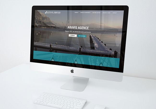 Site internet Aravis agence - Création de site internet par Emilie Le Béhérec Prima - Graphiste Freelance web et print