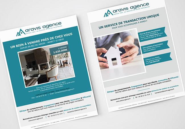 Tract Aravis agence - Création de tracts par Emilie Le Béhérec Prima - Graphiste Freelance web et print