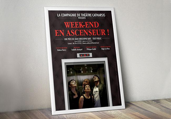 Affiche de Théatre CSAM - Création d'affiches par Emilie Le Béhérec Prima (Graphiste freelance web et print)