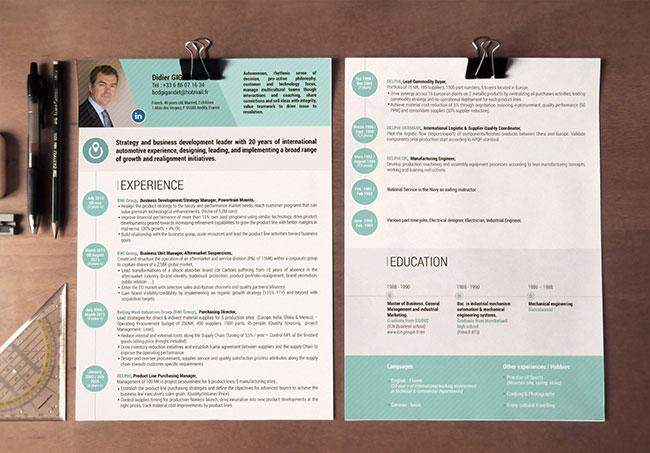 Mise en page de CV Didier Gigandet - Mise en page de CV par Emilie Le Béhérec Prima, graphiste freelance depuis 2009