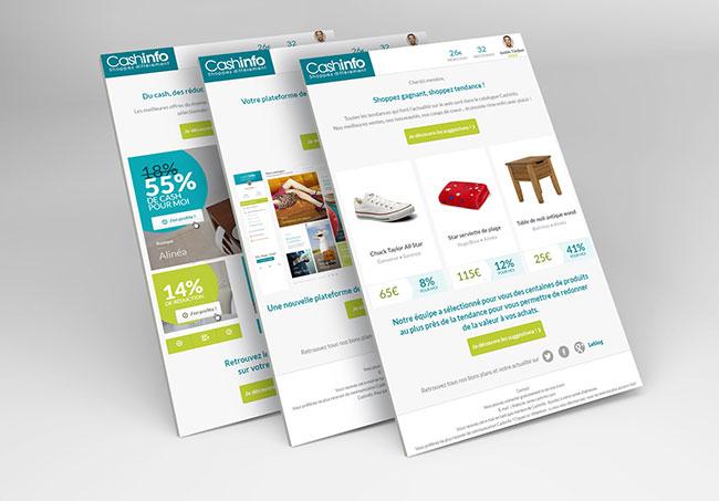 Newsletters CashInfo - Création de newsletters par Emilie Le Béhérec Prima, graphiste freelance web et print