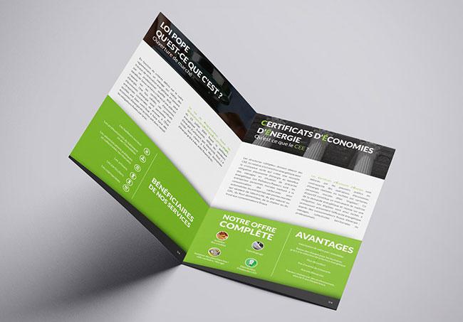 Plaquette Eco Free Energy - Création de plaquettes par Emilie Le Béhérec Prima (Graphiste freelance web et print)