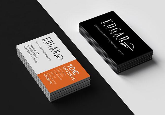 Cartes promotionnelles EdgarDelivery - Création de cartes promotionnelles par Emilie Le Béhérec Prima, graphiste freelance depuis 2009