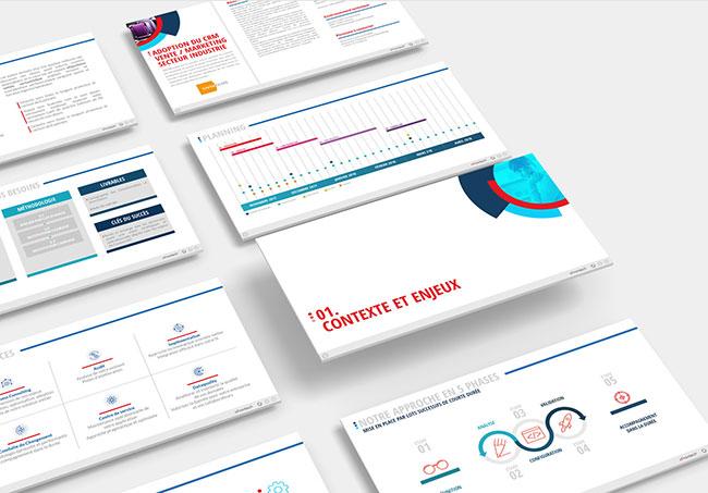 Présentation powerpoint E-frontech - Création de présentation d'entreprise par Emilie Le Béhérec Prima, graphiste freelance depuis 2009