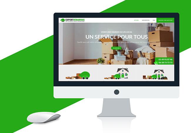 Site internet Expert Débarras - Création de site internet par Emilie Le Béhérec Prima (Graphiste freelance web et print)