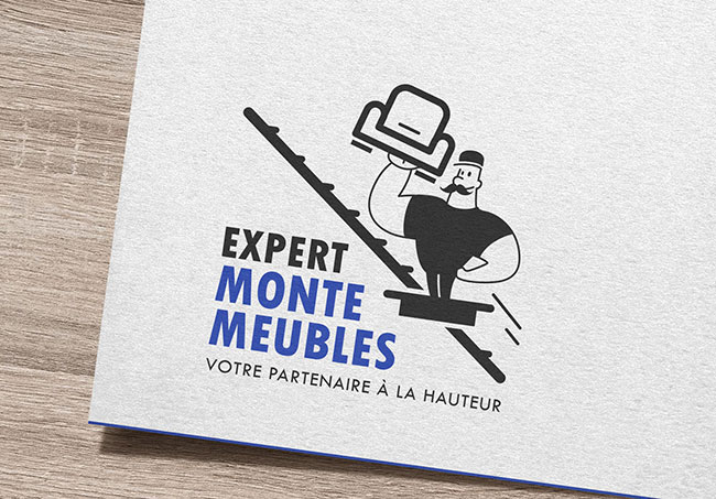 Logo Expert Monte Meubles - Création de logo par Emilie Le Béhérec Prima (Graphiste freelance web et print)
