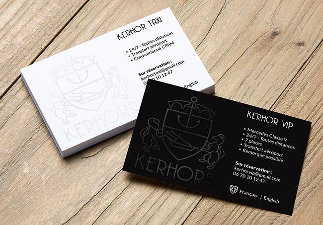 Carte de visite Kerhor Taxi - Création de cartes de visite par Emilie Le Béhérec Prima, Graphiste freelance depuis 2009
