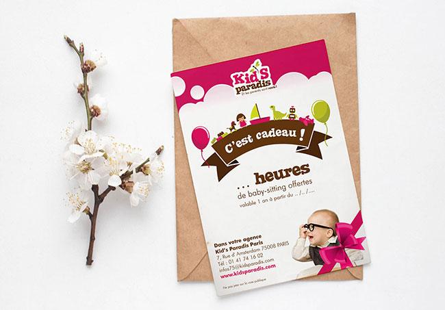 Carte Cadeau Kid's Paradis - Création de carte cadeau par Emilie Le Béhérec Prima, Graphiste freelance dans le domaine de l'enfance