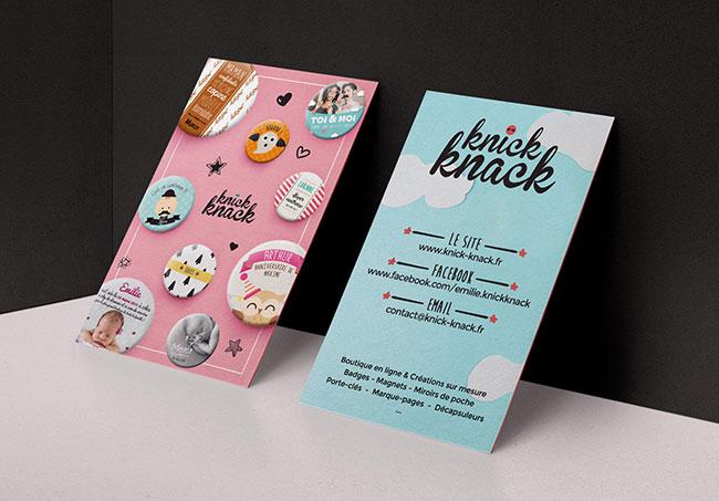 Carte de visite Knick-knack - Création de carte de visite par Emilie Le Béhérec Prima, graphiste freelance spécialisée dans le domaine de l'enfance