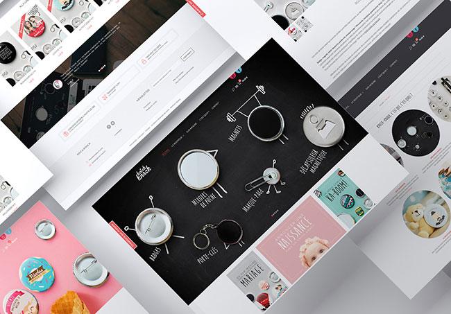 Maquettes du site internet Knick-knack - Création de maquettes de site internet par Emilie Le Béhérec Prima, graphiste freelance spécialisée dans le domaine de l'enfance