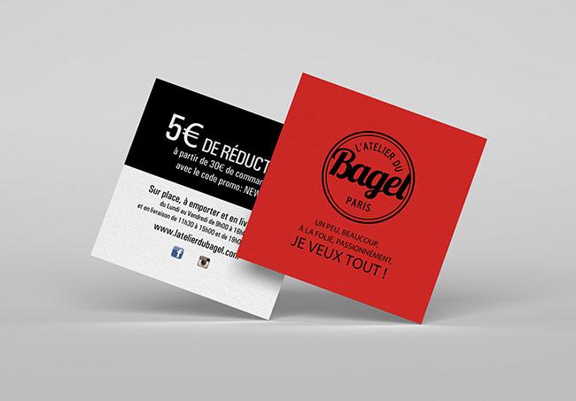 Carte promotionnelle L'atelier du Bagel - Création de cartes promotionnelles par Emilie Le Béhérec Prima, graphiste freelance depuis 2009