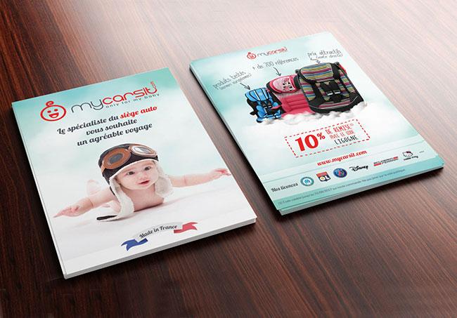 Flyer MyCarSit - Création de flyers par Emilie Le Béhérec Prima, graphiste spécialisée dans le domaine de l'enfance