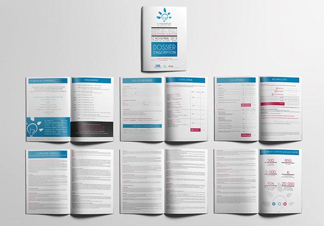 Dossier d'inscription e-novation (Notaires Bretons) - Création de supports de communication par Emilie Le Béhérec Prima (Graphiste freelance web et print)