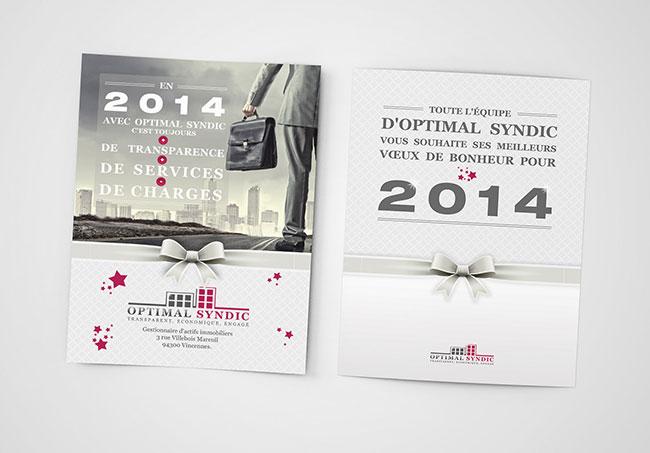 Carte de voeux OptimalSyndic - Création de cartes de voeux par Emilie Le Béhérec Prima, graphiste freelance web et print