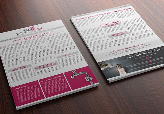 Lettre d'informations OptimalSyndic - Création de lettres d'informations par Emilie Le Béhérec Prima, graphiste freelance web et print
