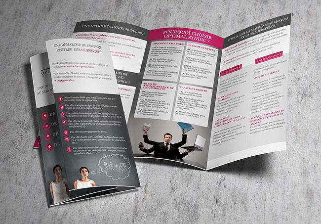Logo OptimalSyndic - Création de plaquettes informatives par Emilie Le Béhérec Prima, graphiste freelance web et print