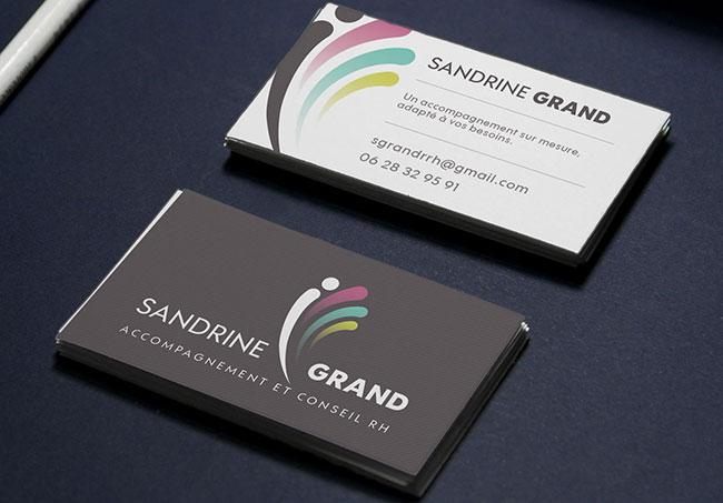 Carte de visite Sandrine Grand - Création de cartes de visites par Emilie Le Béhérec Prima, graphiste freelance dans le Finistère