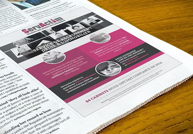 Encart publicitaire Servactim - Création d'encarts publicitaires par Emilie Le Béhérec Prima, graphiste freelance depuis 2009