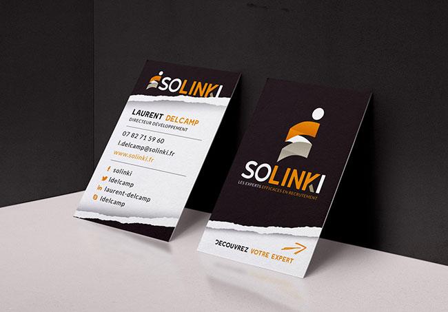 Carte de visite Solinki - Création de cartes de visite par Emilie Le Béhérec Prima, graphiste freelance depuis 2009