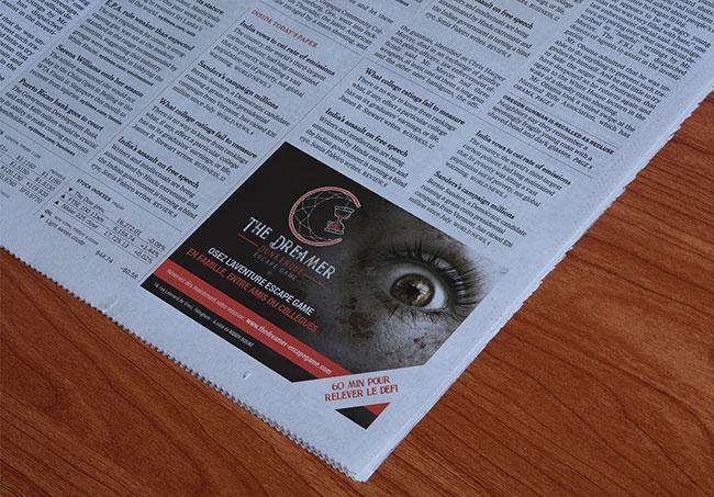 Encart presse The Dreamer - Création d'encart presse par Emilie Le Béhérec Prima - Graphiste freelance Web & Print