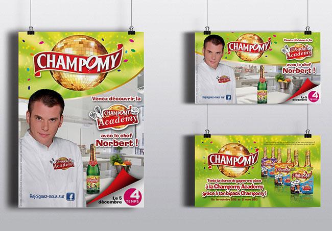 Affiches diverses Champomy (Yakacéfé) - Création d'affiches par Emilie Le Béhérec Prima, graphiste freelance spécialisée dans le domaine de l'enfance