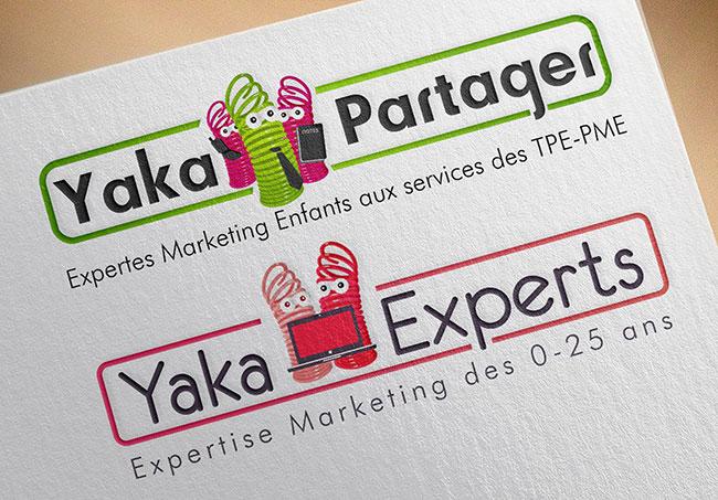 Logos des diverses branches de Yakacéfé - Création de logos par Emilie Le Béhérec Prima, graphiste freelance spécialisée dans le domaine de l'enfance