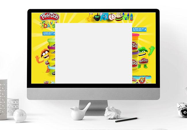 Habillage de site PLay-doh (Yakacéfé) - Création d'habillages de site par Emilie Le Béhérec Prima, graphiste freelance spécialisée dans le domaine de l'enfance