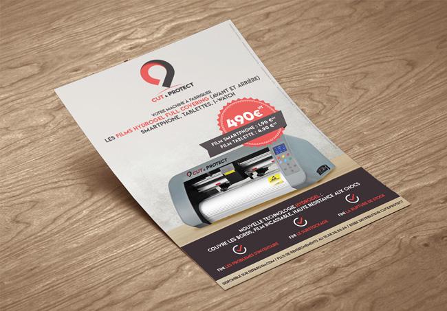 Création d'un flyer pour Cut&Protect, Machine qui découpe des films de protection hydrogel pour les écrans