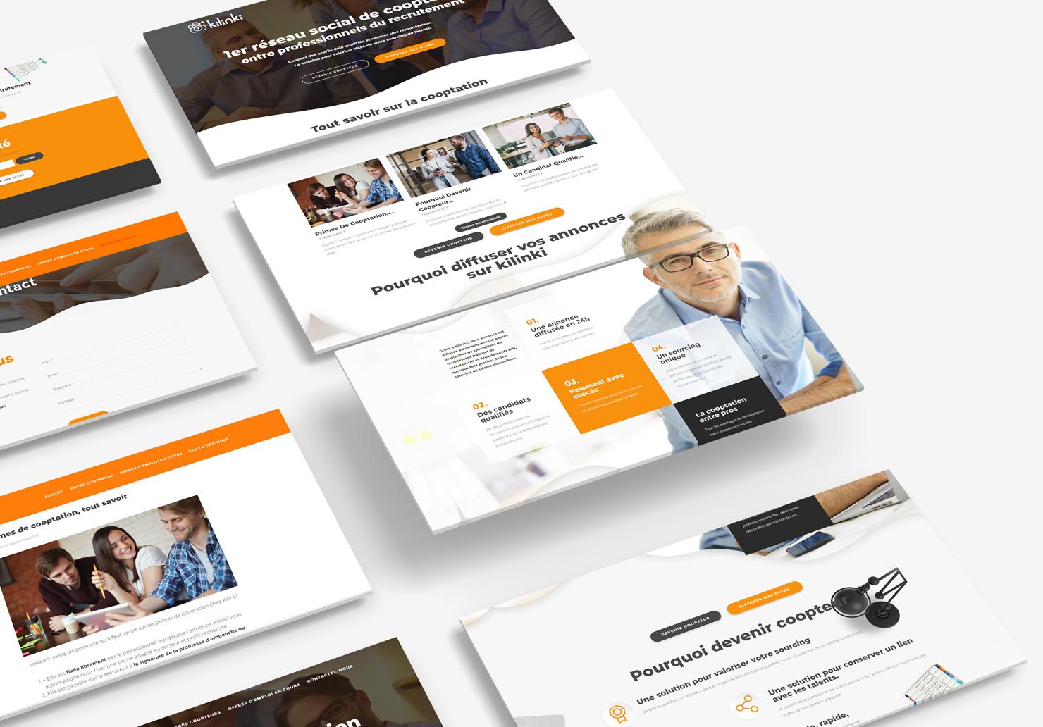 Création d'un site internet pour Kilinki, 1 ère plateforme de cooptation entre professionnels du recrutement