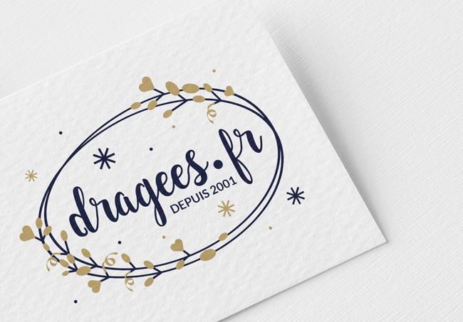 Création d'un logo pour dragees.fr, vente en ligne de friandises et accessoires de cérémonie