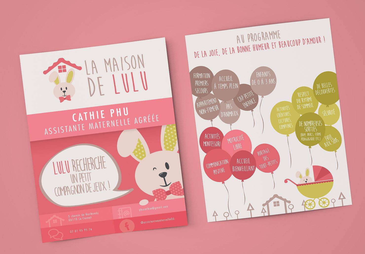 Flyer Assistante maternelle - Création de flyer par Emilie Le Béhérec Prima, Graphiste freelance dans le domaine de l'enfance