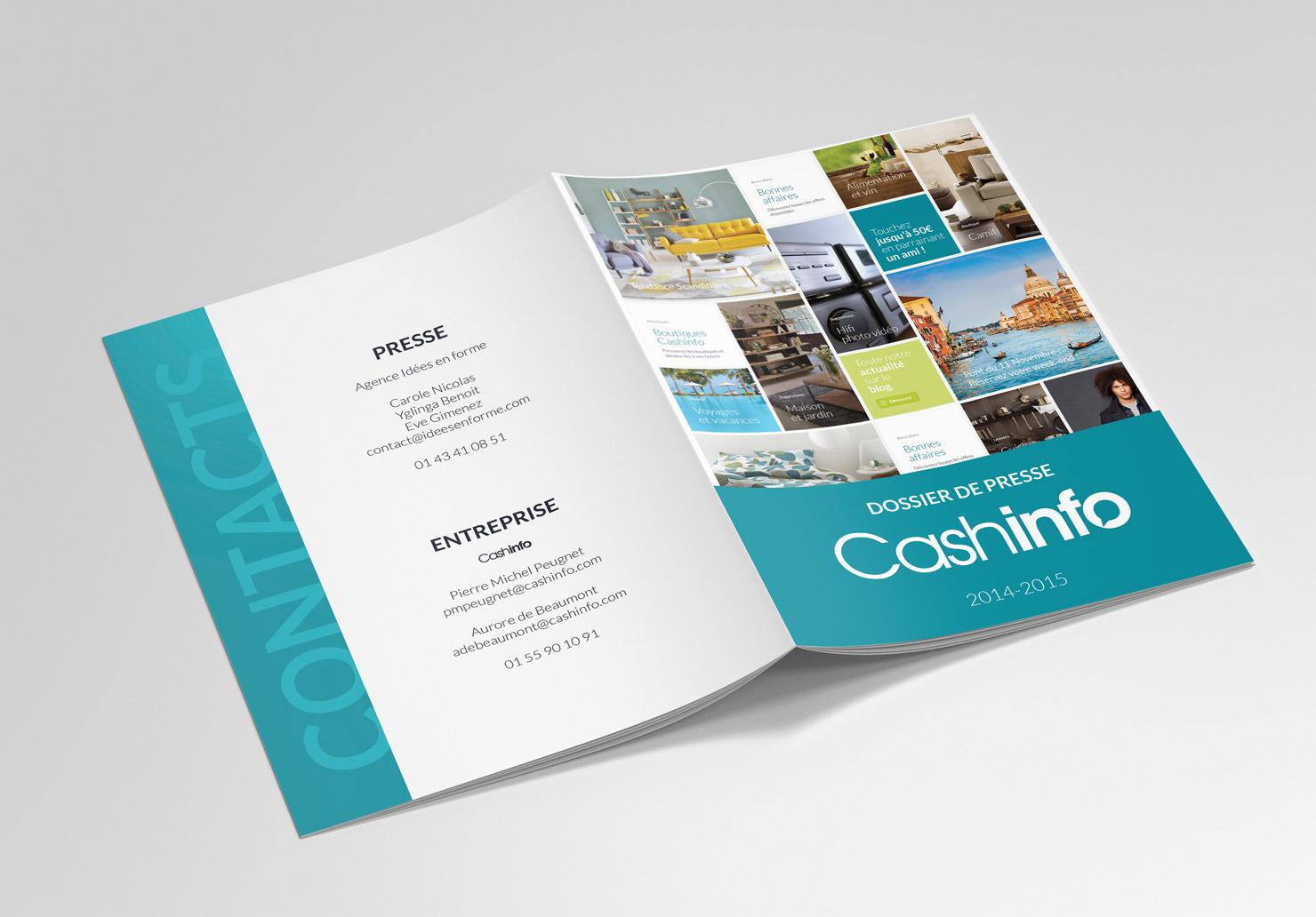 Dossier de presse CashInfo - Création de dossiers de presse par Emilie Le Béhérec Prima, graphiste freelance web et print