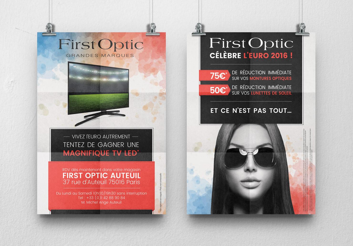 Affiches First Optic - Création d'affiches par Emilie Le Béhérec Prima, graphiste freelance web et print