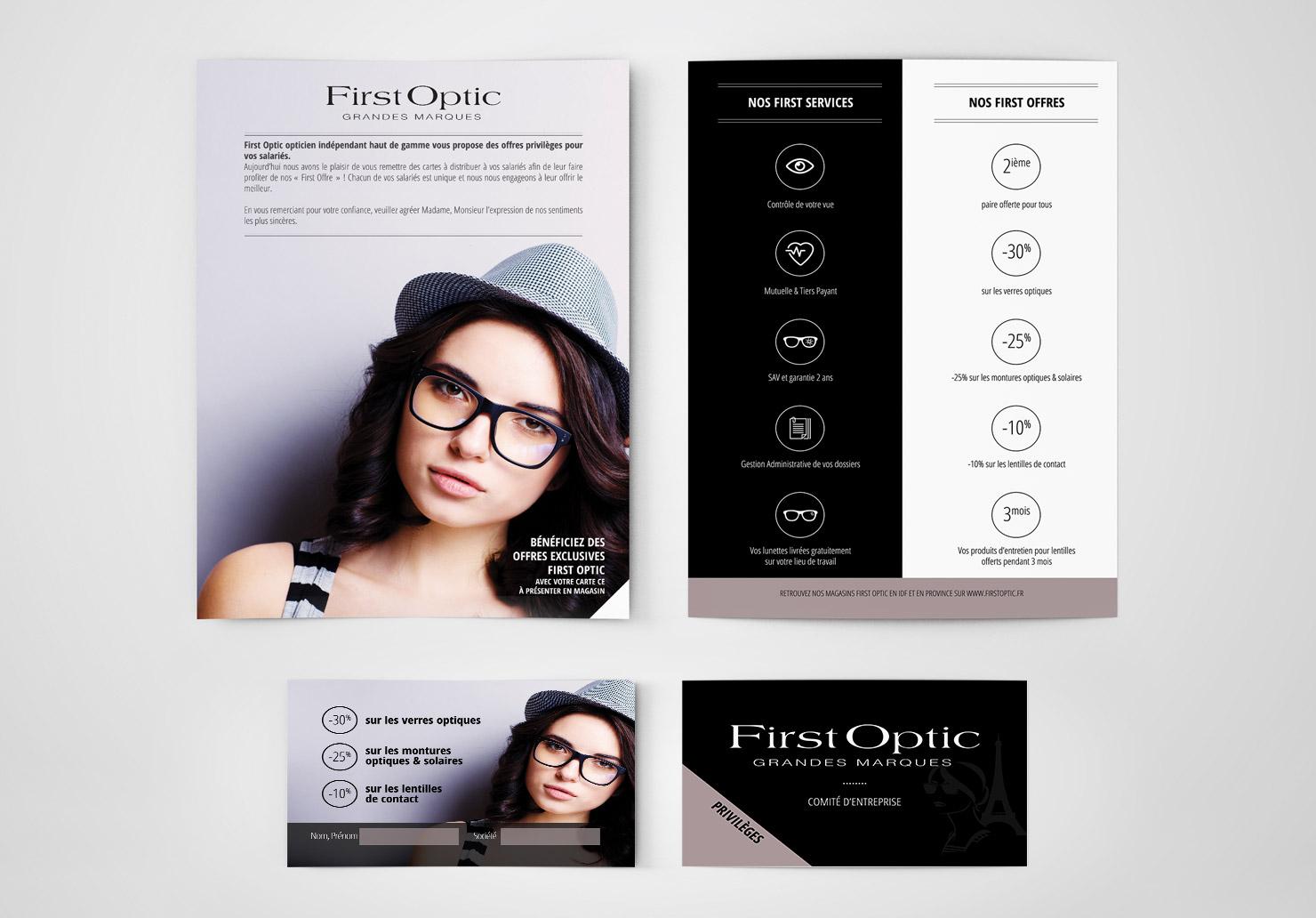 Flyers et cartes membres First Optic - Création de cartes membres par Emilie Le Béhérec Prima, graphiste freelance web et print