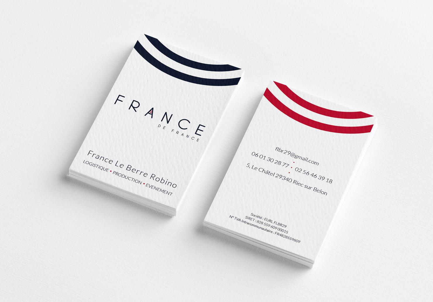 Carte de visite France de France - Réalisée par Emilie Le Béhérec Prima (Graphiste freelance web et print)