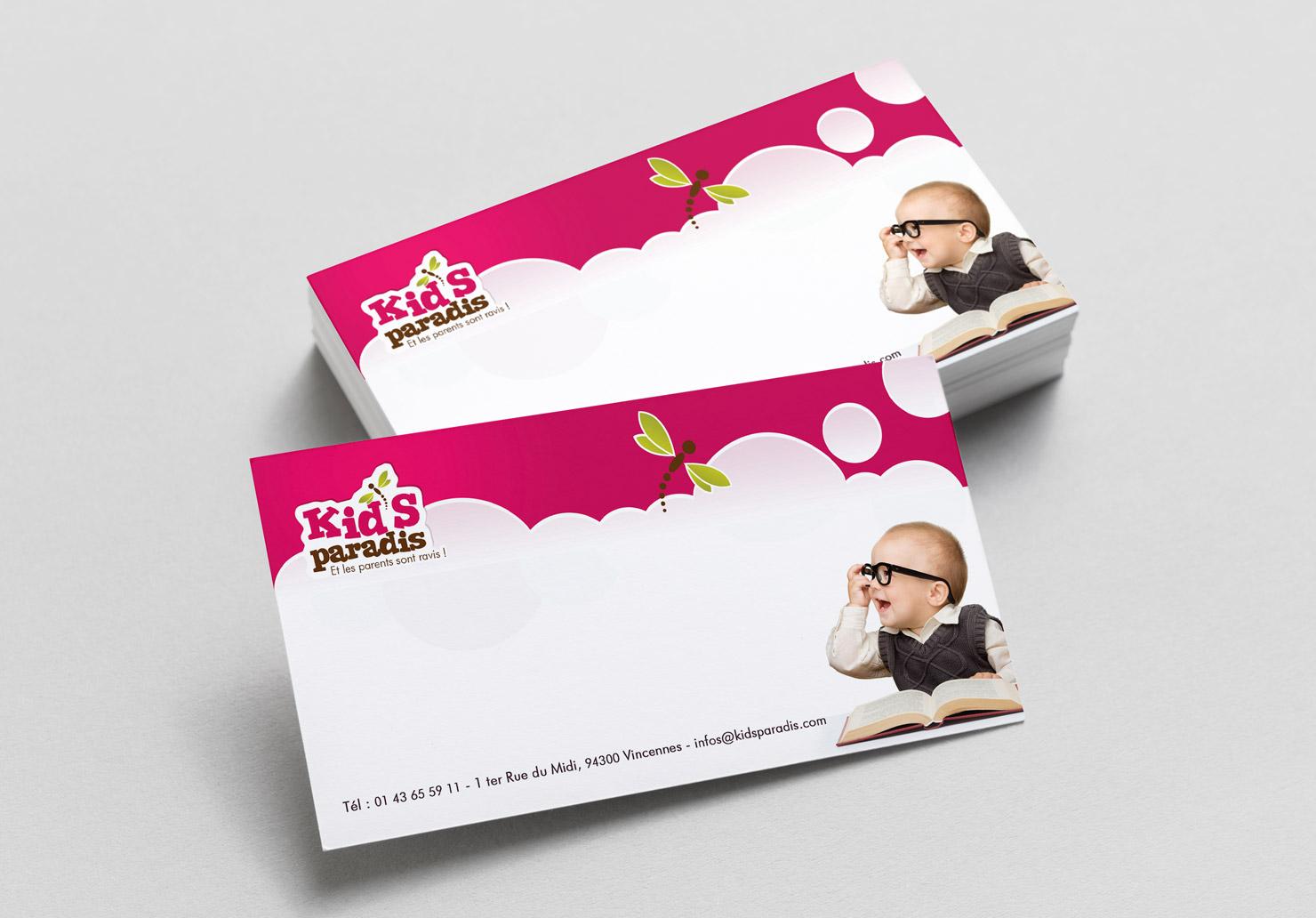 Carte de correspondance Kid's Paradis - Création de carte de correspondance par Emilie Le Béhérec Prima, Graphiste freelance dans le domaine de l'enfance