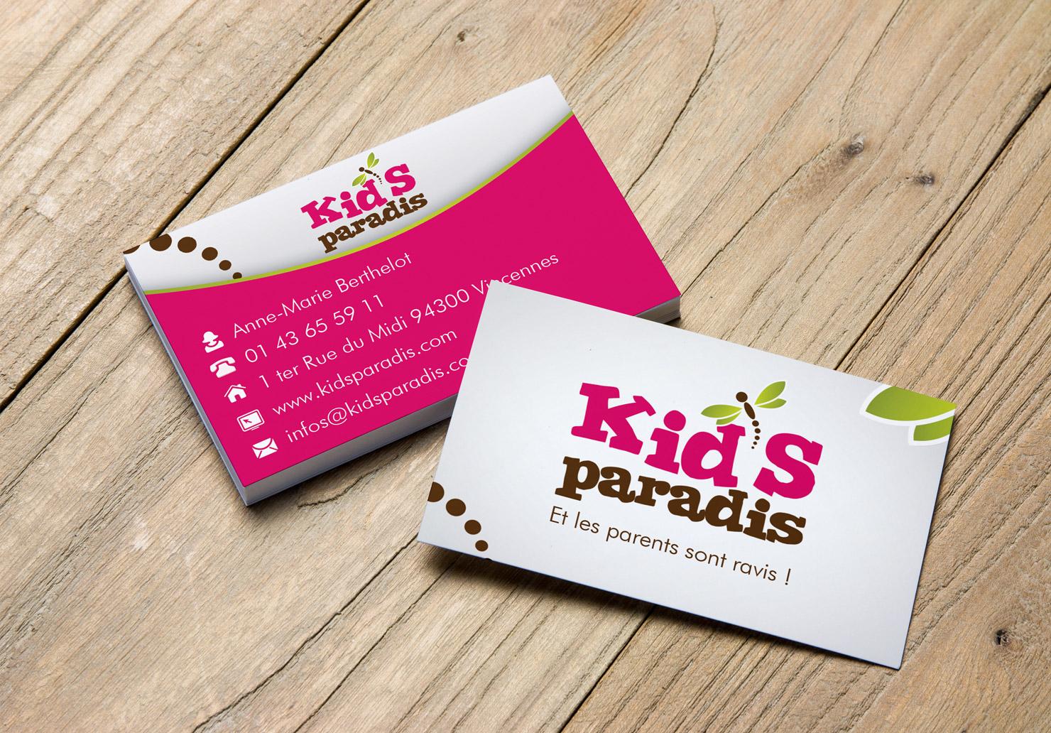 Carte de visite Kid's Paradis - Création de carte de visite par Emilie Le Béhérec Prima, Graphiste freelance dans le domaine de l'enfance
