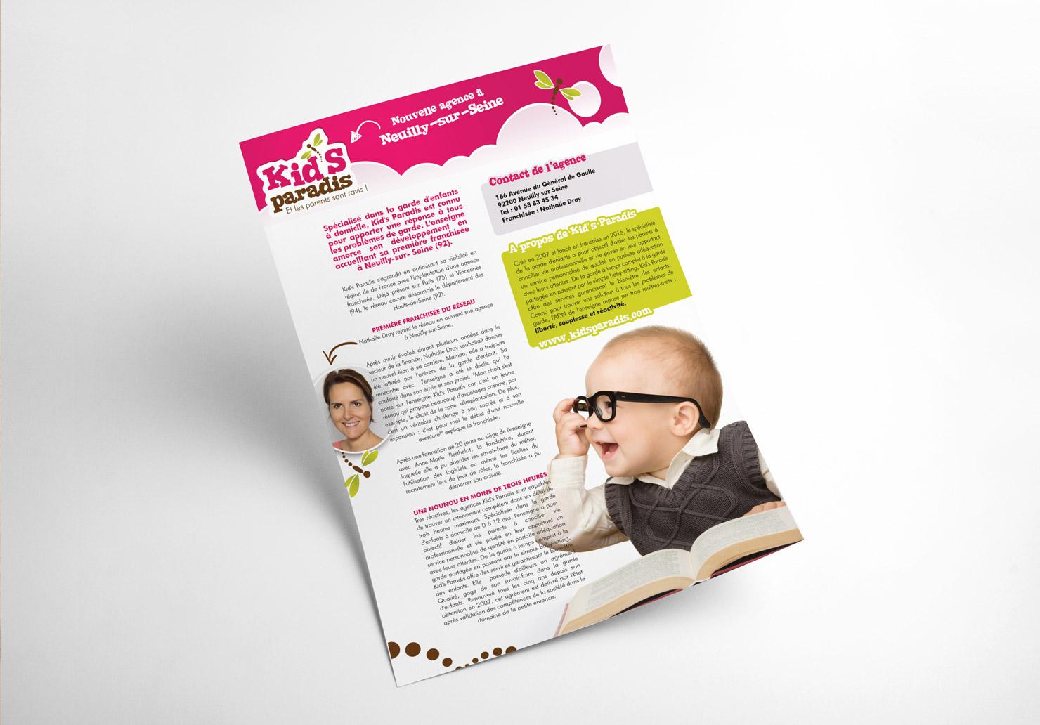 Communiqué de presse Kid's Paradis - Mise en place d'un communiqué de presse par Emilie Le Béhérec Prima, Graphiste freelance dans le domaine de l'enfance