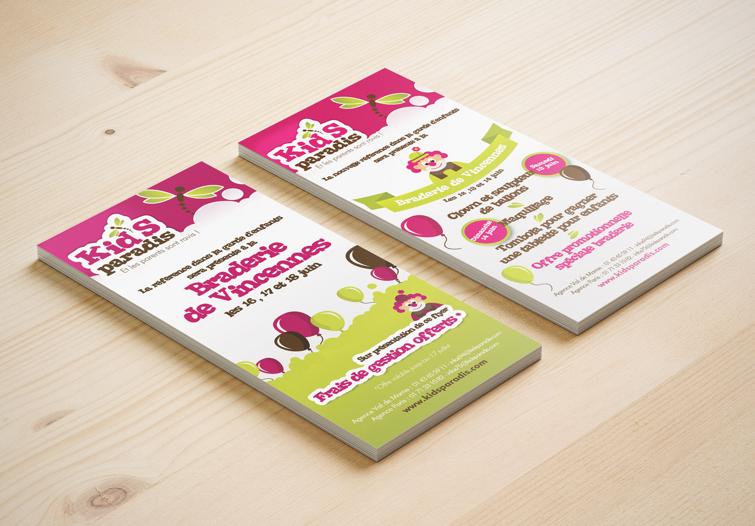 Flyer Kid's Paradis - Création de flyer par Emilie Le Béhérec Prima, Graphiste freelance dans le domaine de l'enfance