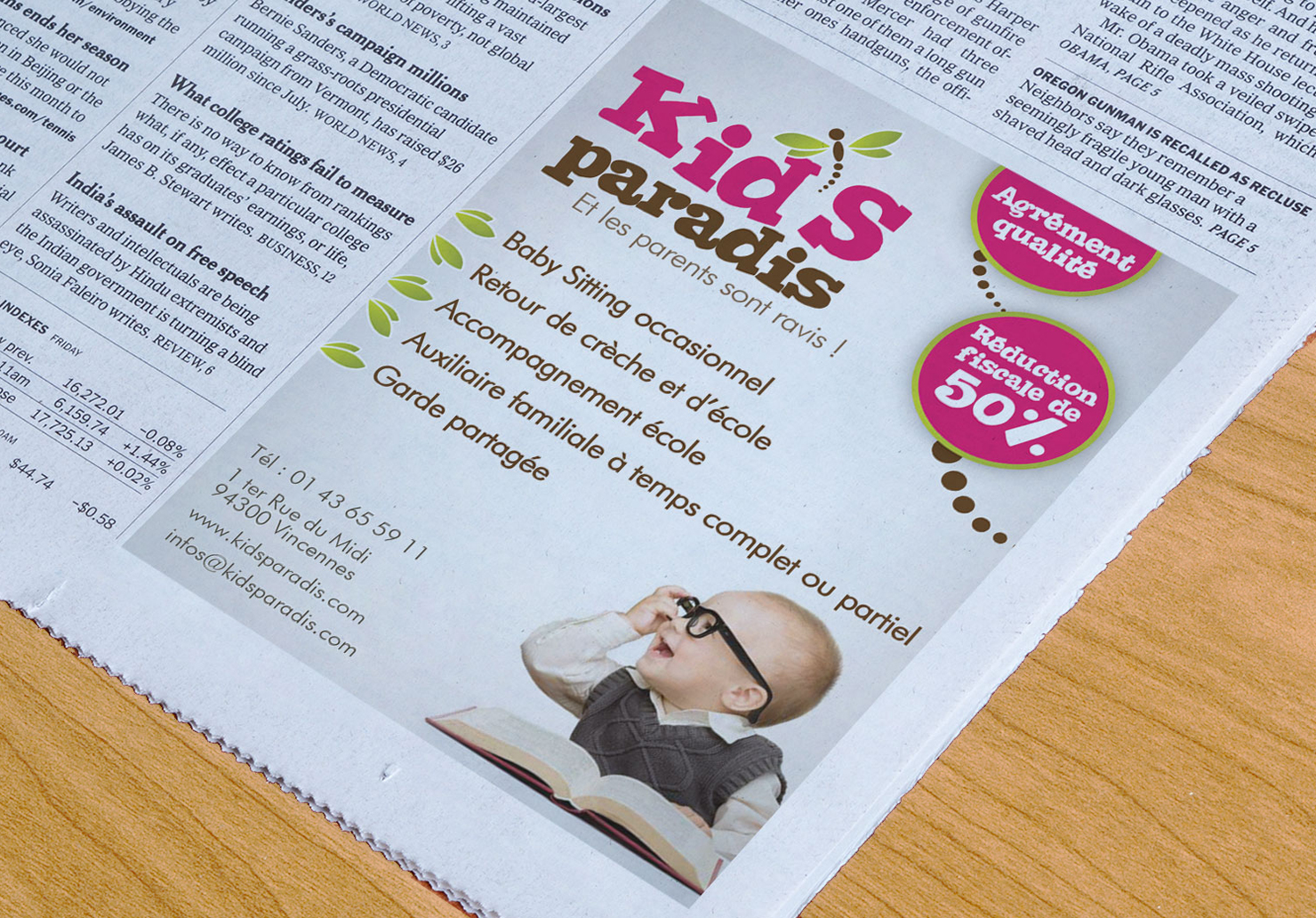 Encart publicitaire Kid's Paradis - Création d'encart publicitaire par Emilie Le Béhérec Prima, Graphiste freelance dans le domaine de l'enfance