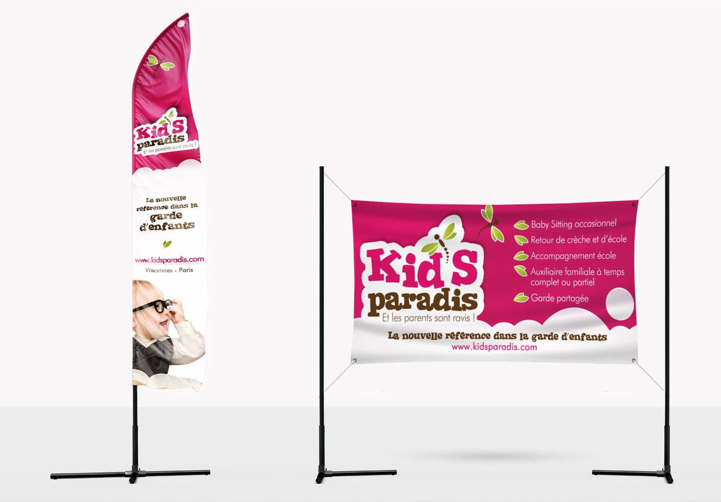 Drapeau Kid's Paradis - Création de drapeau par Emilie Le Béhérec Prima, Graphiste freelance dans le domaine de l'enfance