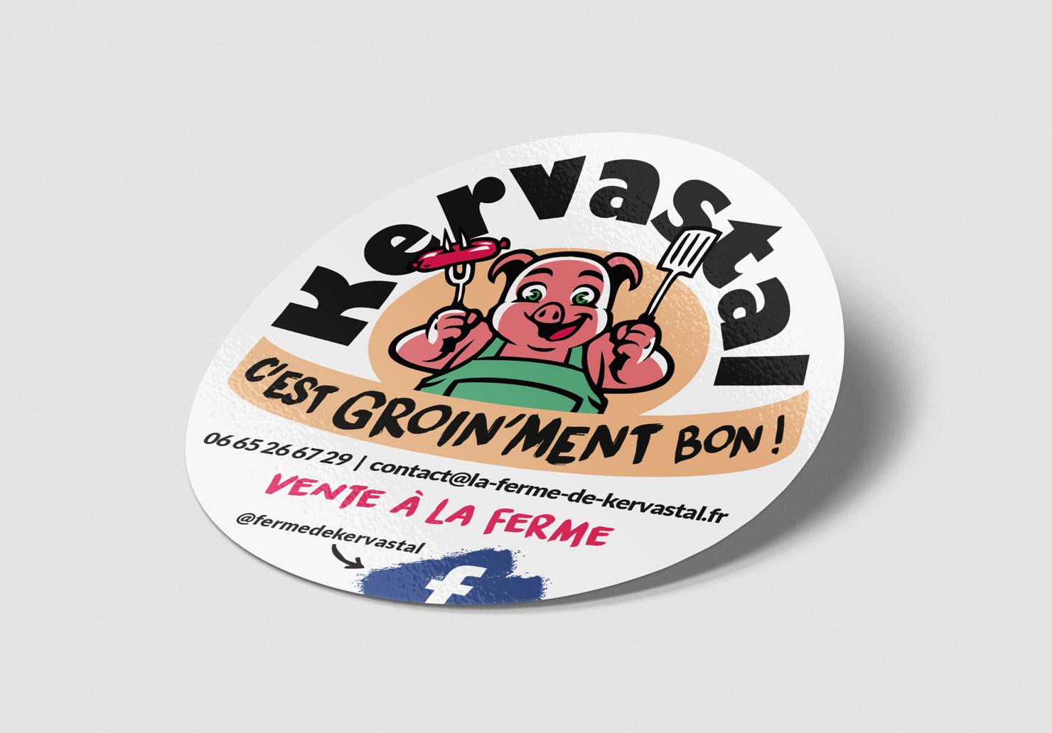 Autocollant La Ferme de Kervastal - Création d'autocollant par Emilie Le Béhérec Prima (Graphiste freelance web et print)
