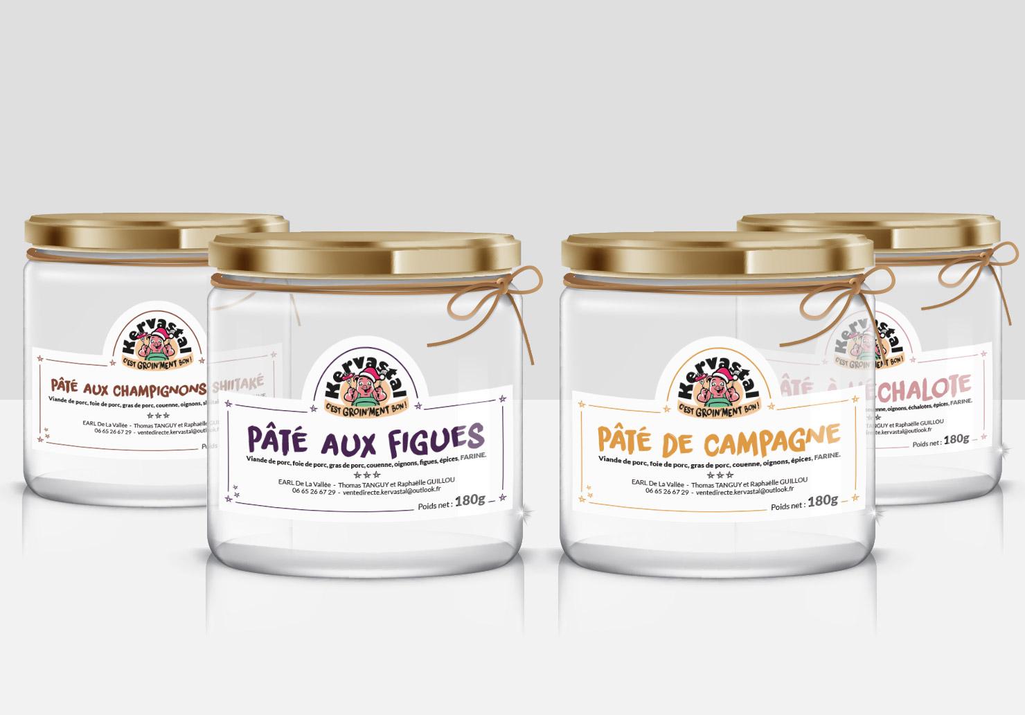 Etiquettes de bocaux pour La Ferme de Kervastal - Packaging réalisé par Emilie Le Béhérec Prima (Graphiste freelance web et print)